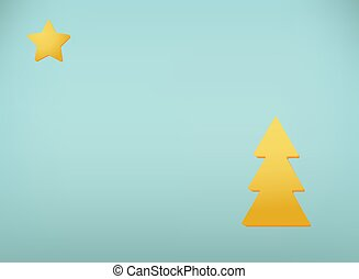 Vector surrealism illustration. New Year card with hanging star and a tree. EPS 10