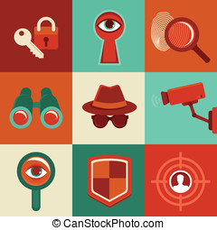 Vector surveillance concepts -icons in flat style - Vector...