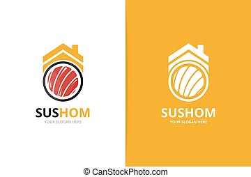 Vector sushi and real estate logo combination. Japanese food and house symbol or icon. Unique seafood and rent logotype design template.