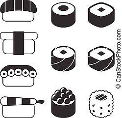 Vector sushi icon set
