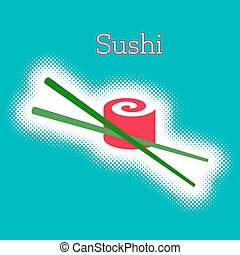 Vector sushi roll with chop sticks