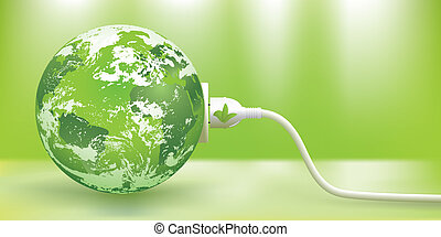 abstract green energy concept with green Earth. The base map is from: The map is traced in Adobe Illustrator on August 20th 2010 using the map's outlines layer data. Clouds reference photos from NASA.