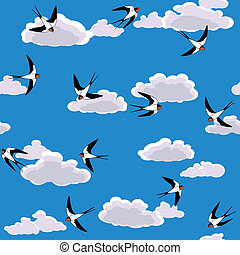vector swallow flying to sky seamless background