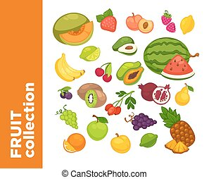 Vector sweet fruits icons set.
