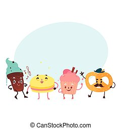 Vector sweet humanized character set isolated
