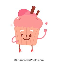 Vector sweet humanized cupcake, brownie character with arms...