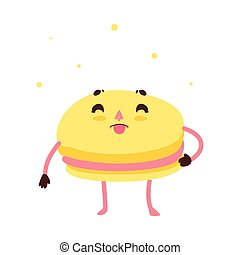 Vector sweet humanized macaroon character isolated