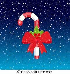 Vector sweet lollipop with red ribbon and holly