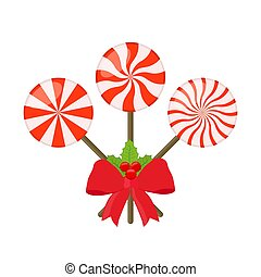 Vector sweet lollipops with red ribbon and holly