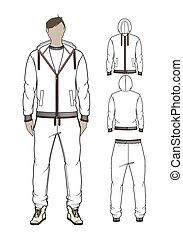 vector, sweetpants, hoodie, zip-through, hombre