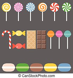 Vector sweets icons, flat design