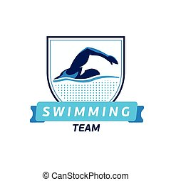 Vector swimming team logo. Swimmer silhouette in water....