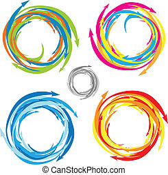 Vector Swirl Arrow Logo Set - Easy to edit! Vector swirl and...