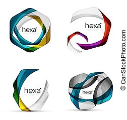 Vector swirl hexagon set, geometric business icons or web banners templates with sample slogan. Created with color overlapping transparent shapes