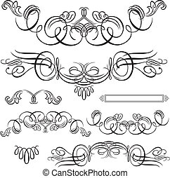 Vector Swirl Ornament Set - Set of vector decorative ...
