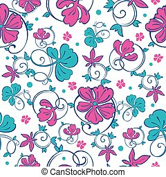 Vector Swirly Vibrant Flowers Seamless Pattern