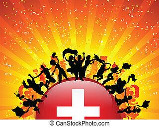 Switzerland Sport Fan Crowd with Flag