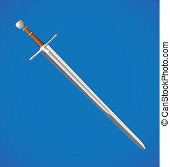 vector sword illustration - realistic vector shiny sword...