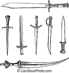 Set of vector swords and knives
