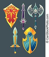Vector swords, shields, axe for fantasy game