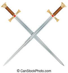 Vector Swords - Steel swords on a white background. Vector...