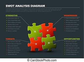 Vector SWOT illustration made from puzzle pieces - Vector ...