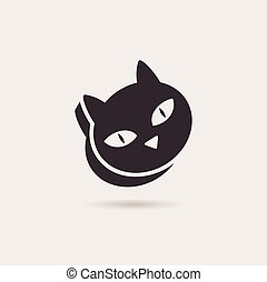 Vector symbol cat food. Stylized illustration silhouette