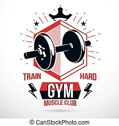 Vector symbol composed with dumbbell and royal crown, heavy load power lifting championship emblem