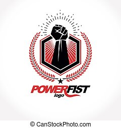 Vector symbol created using clenched fist of athletic strong man, protection shield, bird wings and different graphic elements. Fighter club conceptual logo.
