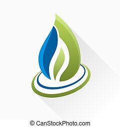 Vector symbol fire. Blue and green flame glass icon with long sh