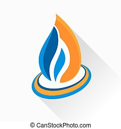 Vector symbol fire. Orange and dark blue flame glass icon with l