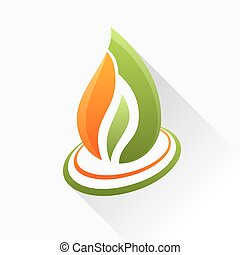 Vector symbol fire. Orange and green flame glass icon with long