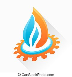 Vector symbol fire with gear. Blue and orange flame glass icon w