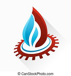Vector symbol fire with gear. Blue and red flame glass icon