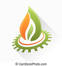 Vector symbol fire with gear. Green and orange flame glass icon