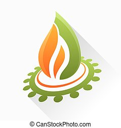Vector symbol fire with gear. Orange and green flame glass icon