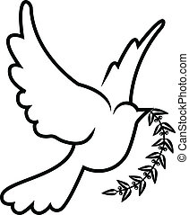 vector symbol of dove olive branch