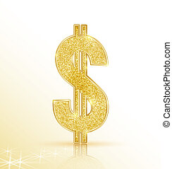 dollar - Vector symbol of golden dollar