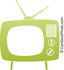 vector symbol of green retro tv set