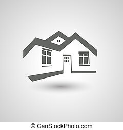 Vector symbol of home, house icon, realty silhouette, real estate modern logo