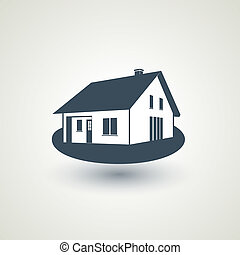 Vector symbol of home, house icon, realty silhouette, sign of real estate