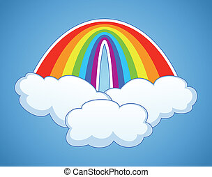 vector symbol of rainbow  and clouds
