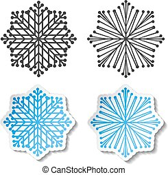 Vector symbol of snowflake. Winter sale label, blue white sticker - Christmas snow icon