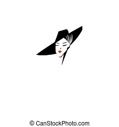 Vector symbol of the head of a beautiful lady