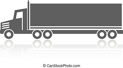 Vector symbol of transport, icon shipping of box, silhouette of truck, lorry. Monochrome design.