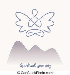 Vector symbol of yoga, meditation, spirituality. Angel. Meditatio