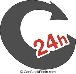 Vector symbol rate of delivery package, box. Icon of speed transport. Arrow with sign of 24 hours.