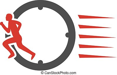 Vector symbol rate of delivery package, box. Icon of speed transport. Clock with sign of runner, running man.