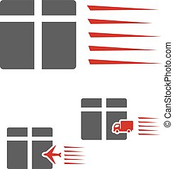 Vector symbol rate of delivery package, box. Icon of speed transport with airplane and truck sign