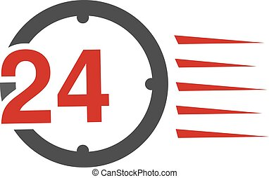 Vector symbol rate of delivery package, box. Icon of speed transport. Clock with sign of 24 hours.